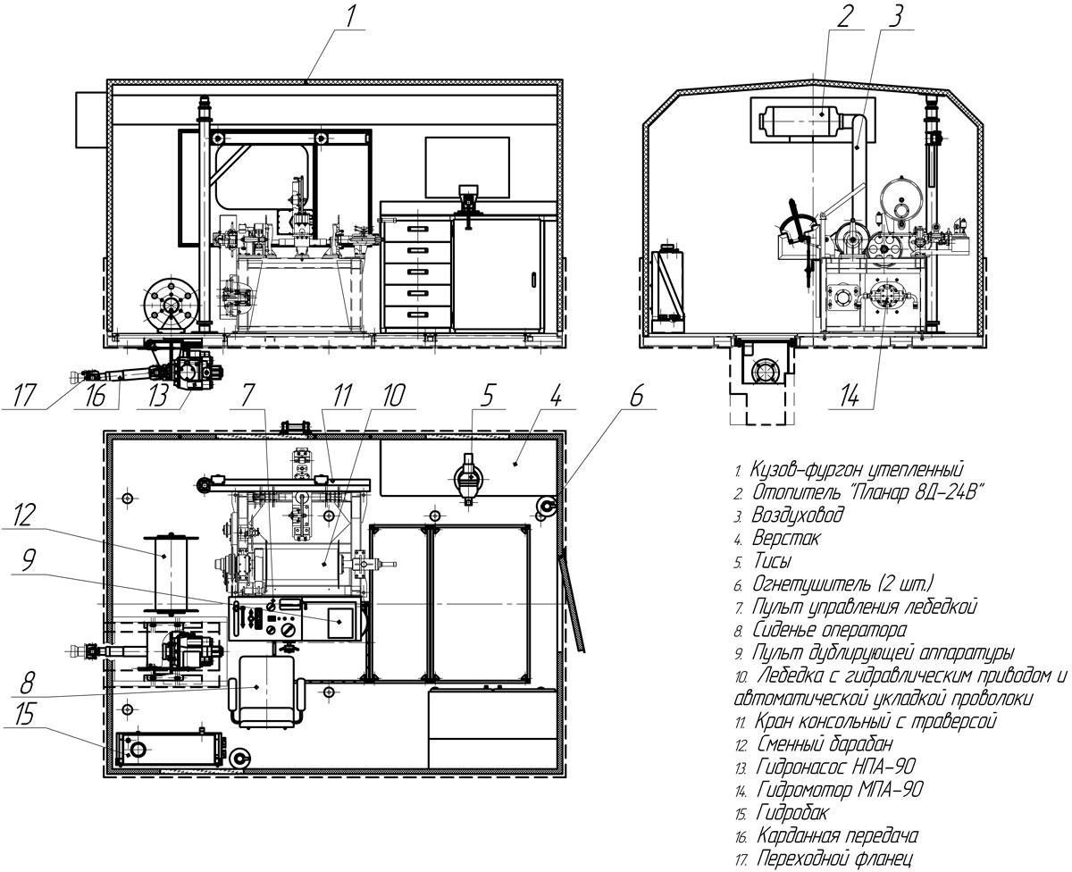 Планировка агрегата исследования скважин на гусеничном шасси ТМ-140
