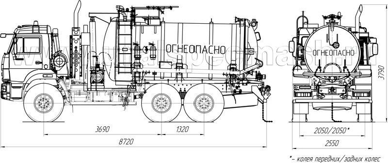 Габаритный чертеж АКНС-10 на шасси Камаз 43118