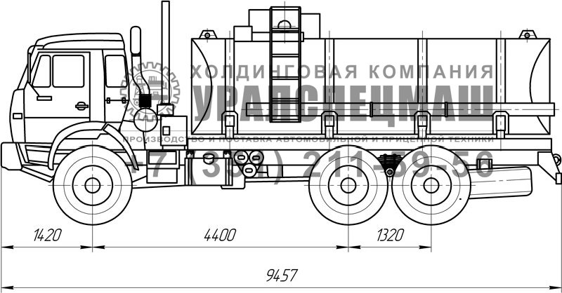 Габаритный чертеж АТЗ-13,5 Камаз 43118