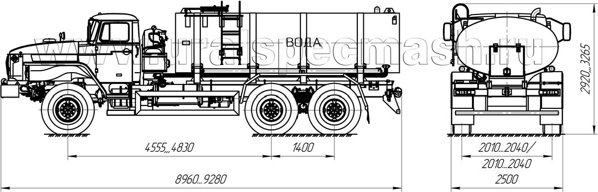 Габаритный чертеж АЦПТ-9,5 на шасси Урал 4320-1912-72Е5