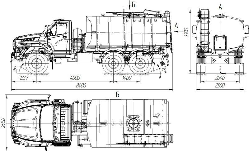 Габаритный чертеж пищевой автоцистерны АЦПТ-10 на шасси Урал-NEXT 5557