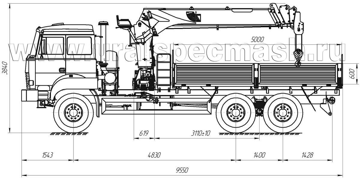 Габаритный чертеж бортового автомобиля Урал 4320-4972-82Е5 с КМУ DongYang SS1506A