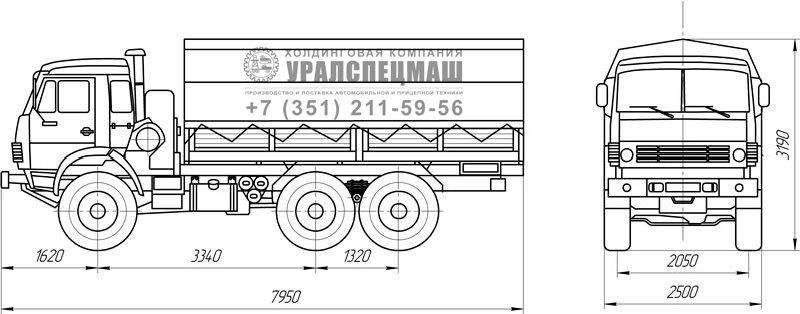 Габаритный чертеж бортового автомобиля Камаз 5350-6015-42