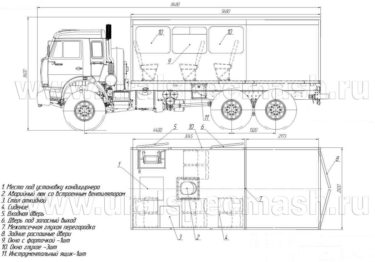 Габаритный чертеж ГПА Камаз 43118-1098-10
