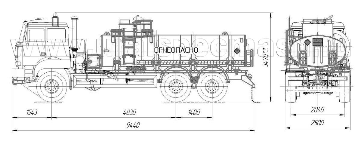 Габаритный чертеж АТЗ-12 Урал 4320-4972-82Е5