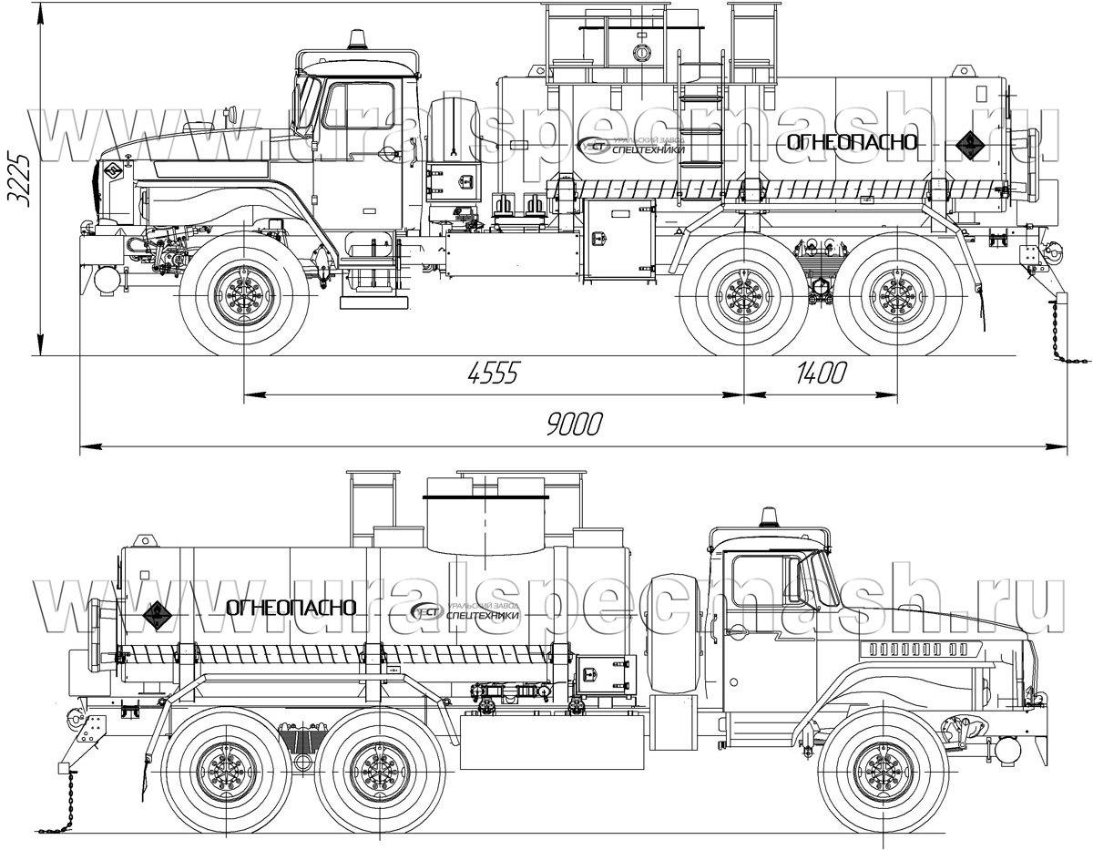 Габаритный чертеж АТЗ-10 Урал 4320 с узлами выдачи масла