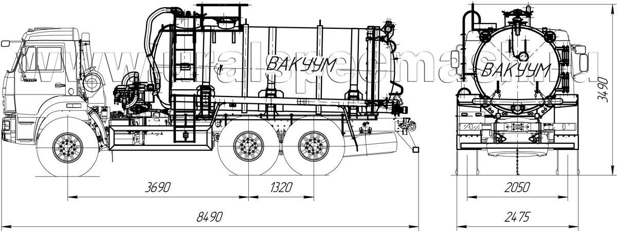 Габаритный чертеж автоцистерны ассенизационной МВ-10 Камаз 43118 с ОД