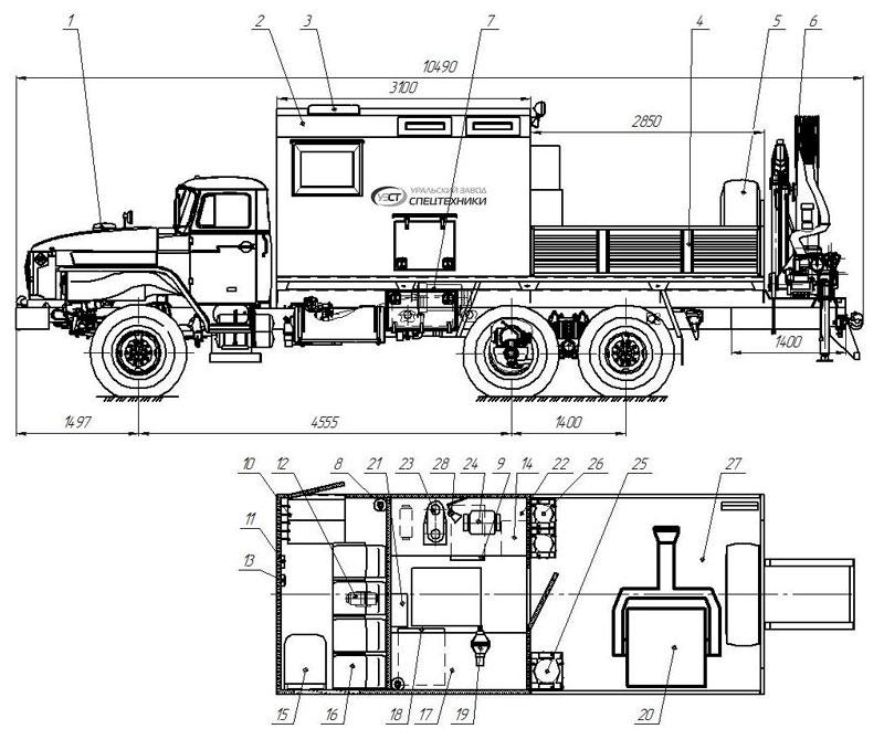 Планировка передвижной мастерской ПАРМ Урал 4320-1912-72Е5 с КМУ ИМ-150