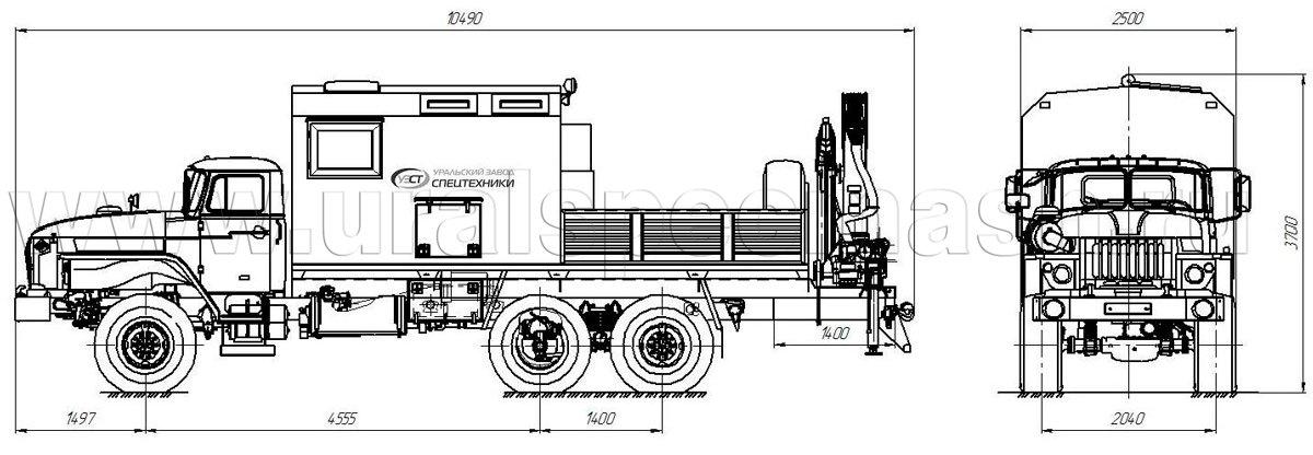 Габаритный чертеж передвижной мастерской Урал 4320 с КМУ ИМ-150
