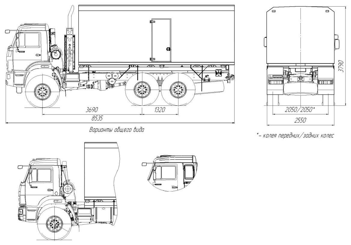 Габаритный чертеж паропромысловой установки 1600/100 Камаз 43118