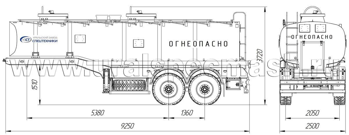 Габаритный чертеж полуприцепа цистерны для нефтепродуктов