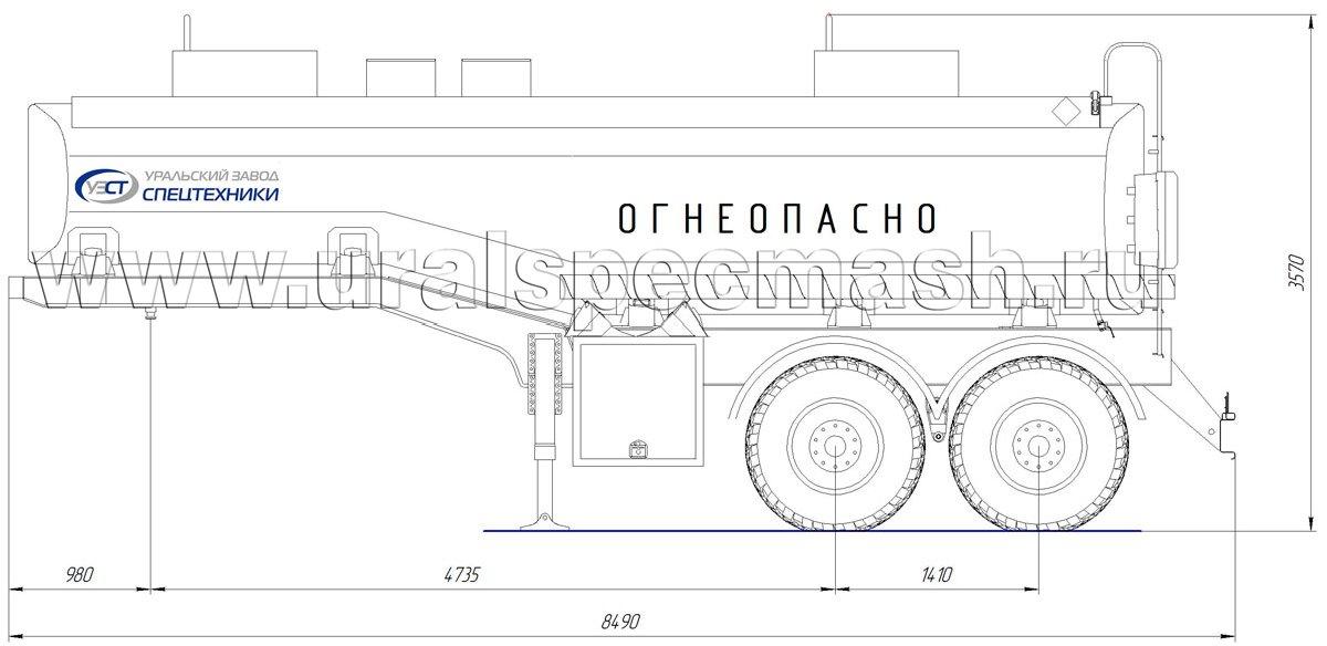 Габаритный чертеж полуприцепа-цистерны УЗСТ-ППЦ-20 м³ (2-осного, переменного сечения)