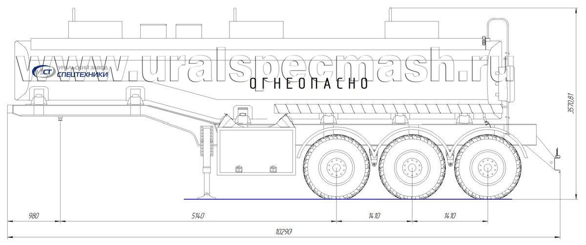 Габаритный чертеж полуприцепа-цистерны УЗСТ-ППЦ-24 м³ (3-осного, переменного сечения)