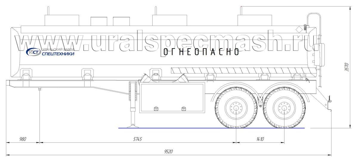 Габаритный чертеж полуприцепа-цистерны УЗСТ-ППЦ-26 м³ (2-осного, прямого сечения)