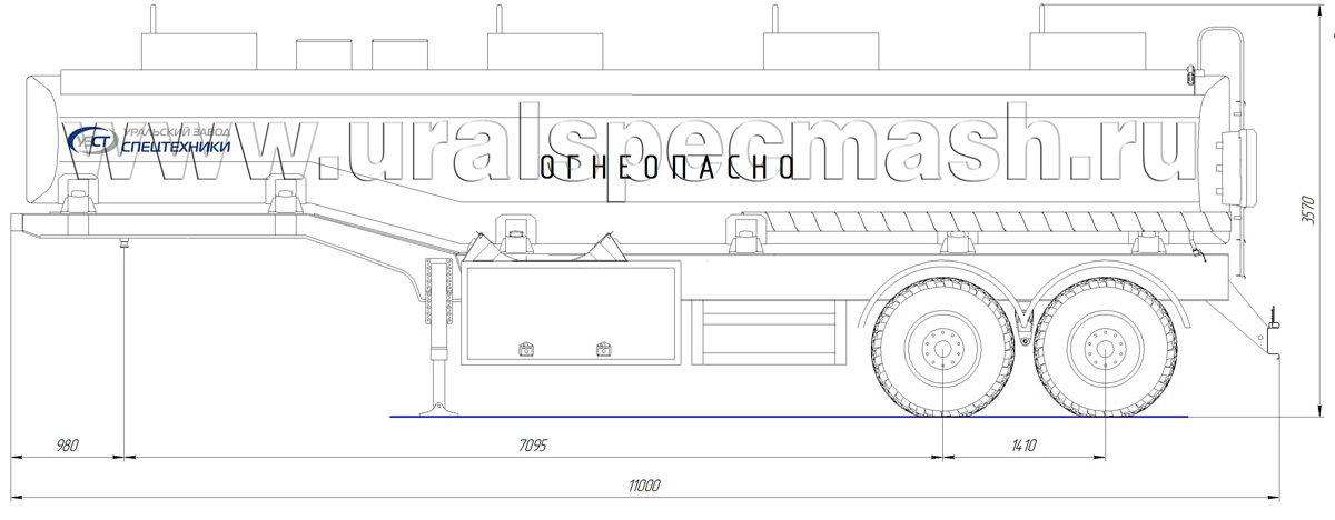 Габаритный чертеж полуприцепа-цистерны УЗСТ-ППЦ-28 м³ (2-осного, переменного сечения)