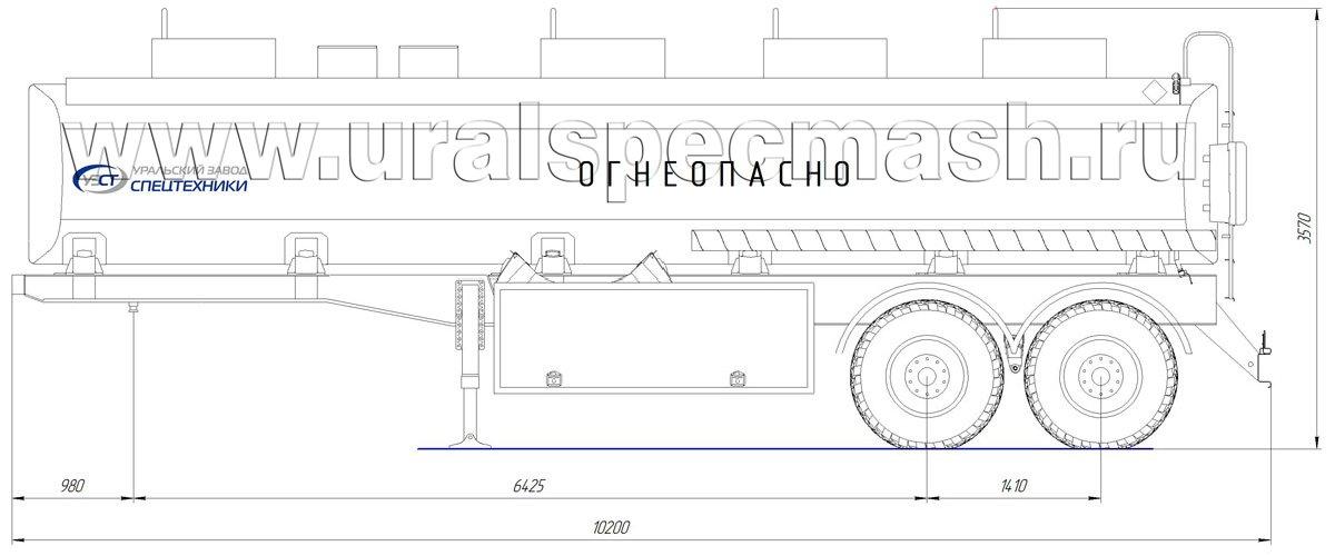 Габаритный чертеж полуприцепа-цистерны УЗСТ-ППЦ-28 м³ (2-осного, прямого сечения)