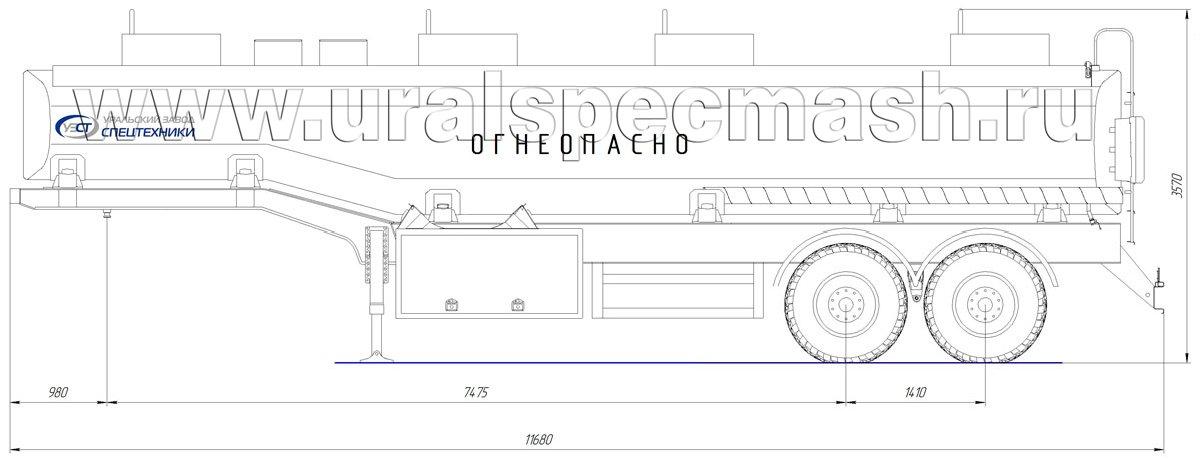 Габаритный чертеж полуприцепа-цистерны УЗСТ-ППЦ-30 м³ (2-осного, переменного сечения)