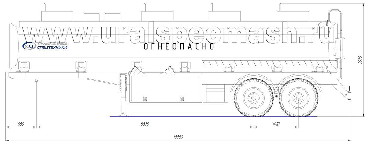 Габаритный чертеж полуприцепа-цистерны УЗСТ-ППЦ-30 м³ (2-осного, прямого сечения)