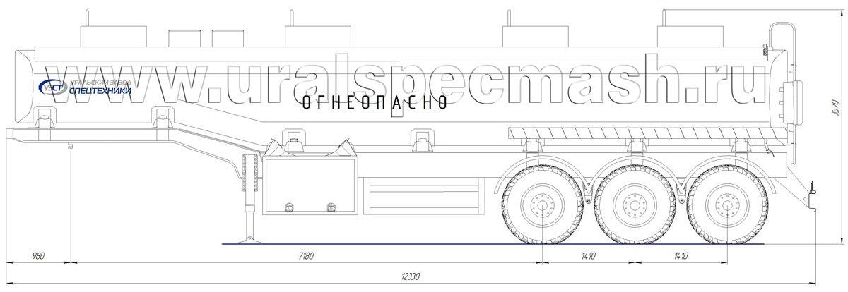 Габаритный чертеж полуприцепа-цистерны УЗСТ-ППЦ-32 м³ (3-осного, переменного сечения)