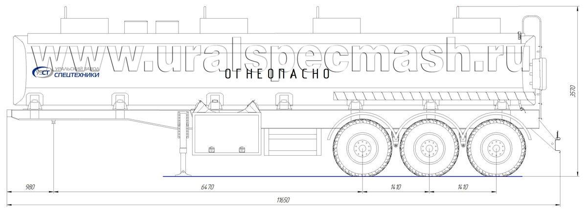 Габаритный чертеж полуприцепа-цистерны УЗСТ-ППЦ-32 м³ (3-осного, прямого сечения)