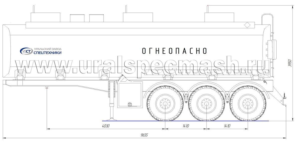 Габаритный чертеж полуприцепа-цистерны УЗСТ-ППЦ-34 м³ (3-осного, прямого сечения)