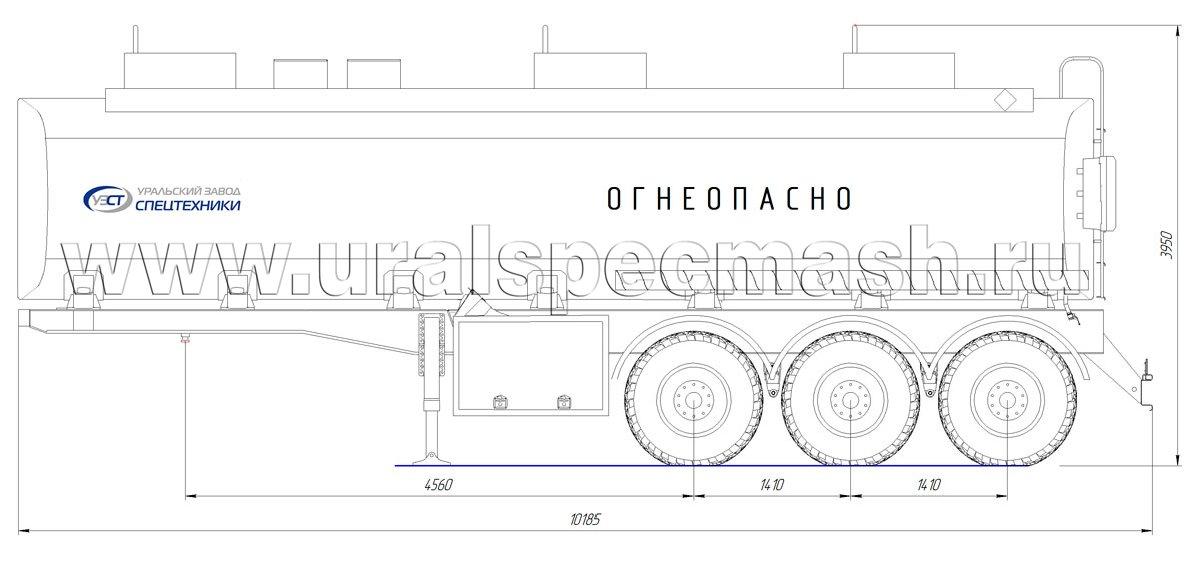 Габаритный чертеж полуприцепа-цистерны УЗСТ-ППЦ-36 м³ (3-осного, прямого сечения)