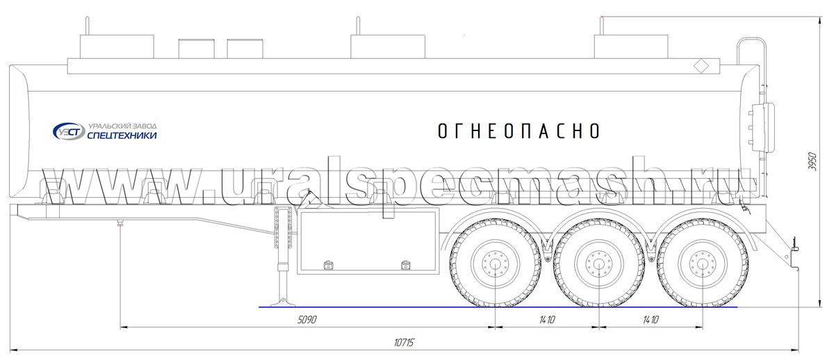 Габаритный чертеж полуприцепа-цистерны УЗСТ-ППЦ-38 м³ (3-осного, прямого сечения)