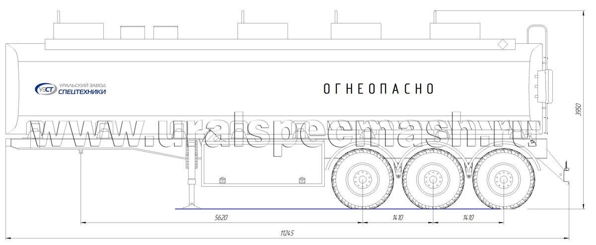 Габаритный чертеж полуприцепа-цистерны УЗСТ-ППЦ-40 м³ (3-осного, прямого сечения)