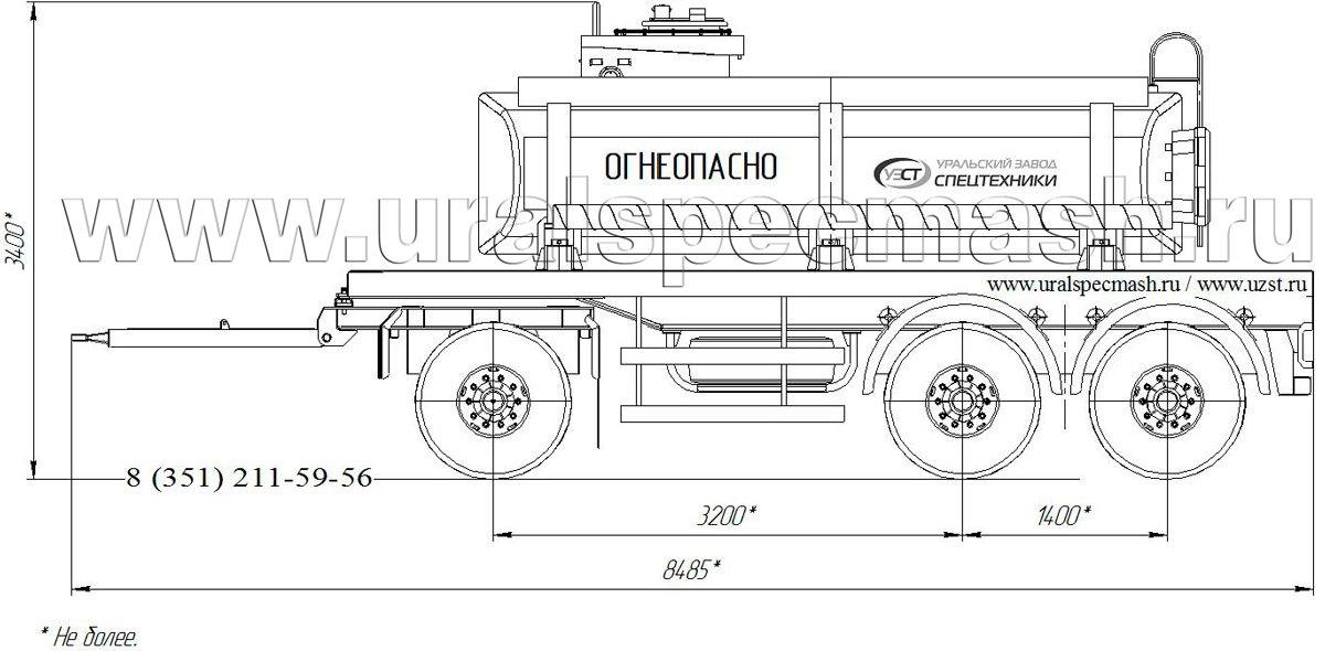 Габаритный чертеж прицеп-цистерна для ГСМ ПЦ-10 3-осный