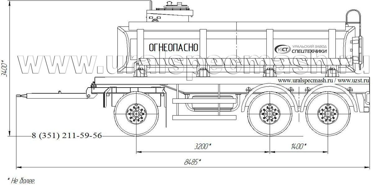 Габаритный рисунок прицеп-цистерна для ГСМ ПЦ-12 3-осного