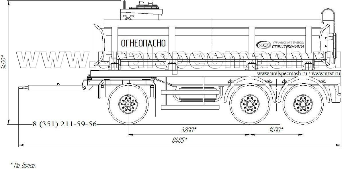 Габаритный рисунок прицеп-цистерна для ГСМ ПЦ-13 3-осный