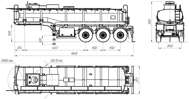 Габаритный чертеж полуприцеп-цистерны марки УЗСТ-9174 ППЦ-26-001