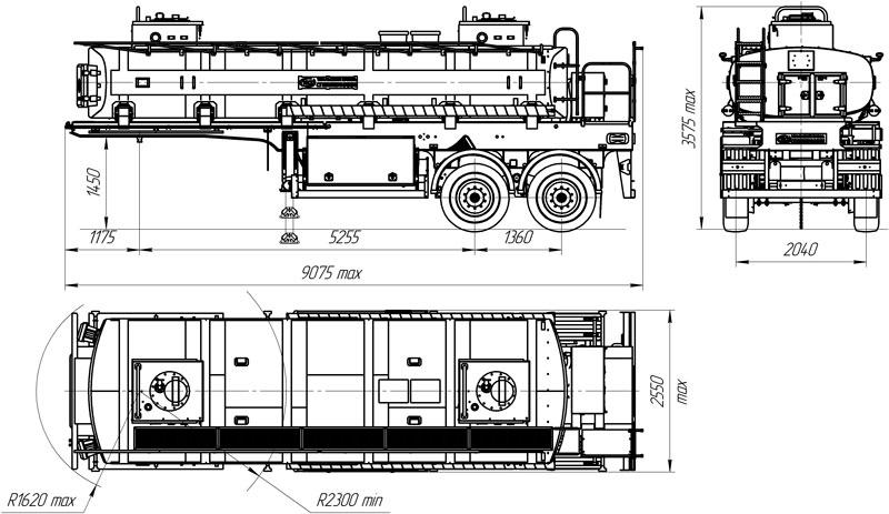 Габаритный чертеж полуприцепа-цистерны для ГСМ УЗСТ 9175 ППЦ 16-002