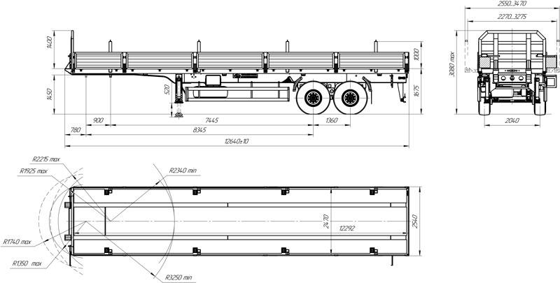 Габаритный чертеж бортового полуприцепа УЗСТ 9175-007Б2