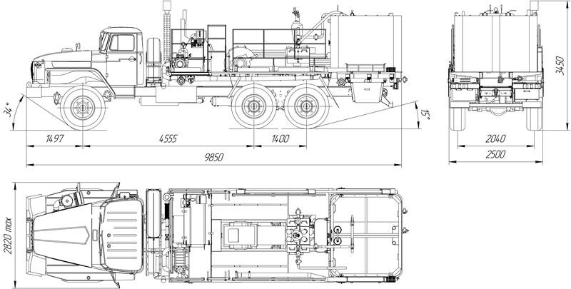 Габаритный чертеж цементировочного агрегата ЦА-32 УЗСТ-006-22 Урал 4320