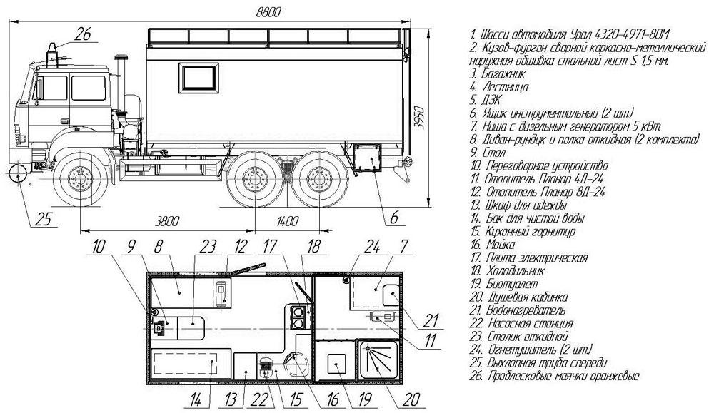 Планировка фургона общего назначения Урал 4320-4971-80Е5