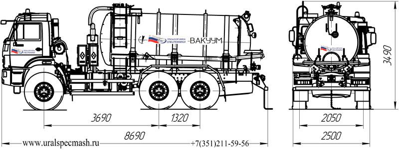 Габаритный чертеж вакуумной автоцистерны МВ-11 Камаз 43118-3017-50