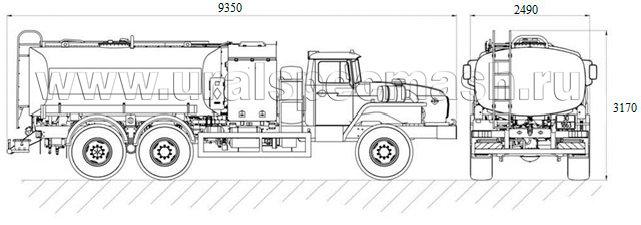 Габаритный чертеж аэродромного топливозаправщика ТЗА-10 Урал 4320