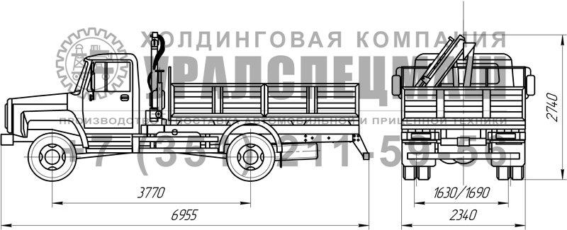 Габариты бортового автомобиля ГАЗ 483B-15