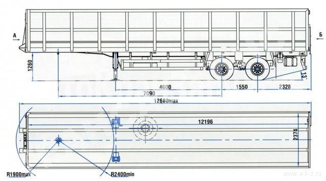 Габаритный чертеж полуприцепа-металловоза 9417-0000010-01А