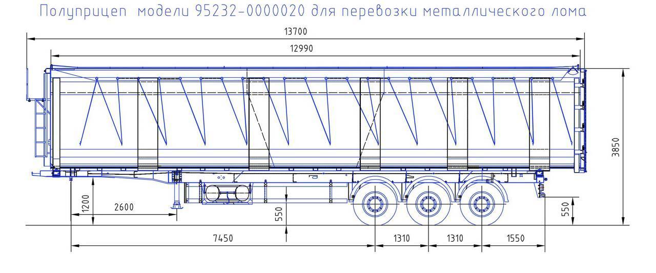 Габаритный чертеж полуприцепа-металловоза 95232-0000020