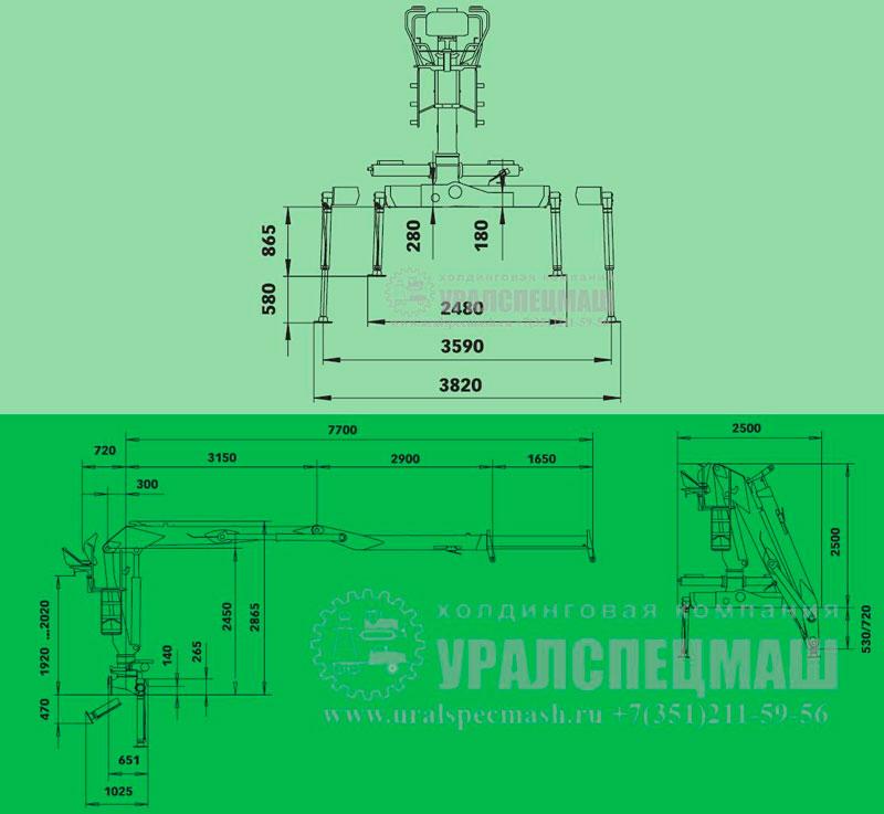 Габаритный чертеж манипулятора LOGLIFT-105-Z-77