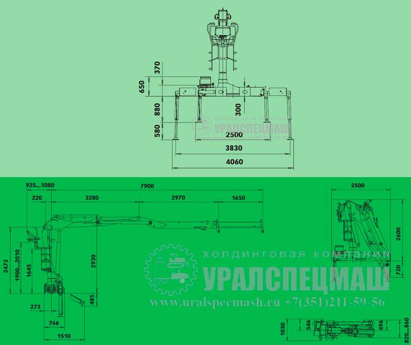 Габаритный чертеж полуприцепа-тяжеловоза манипулятора LOGLIFT-135-Z-79