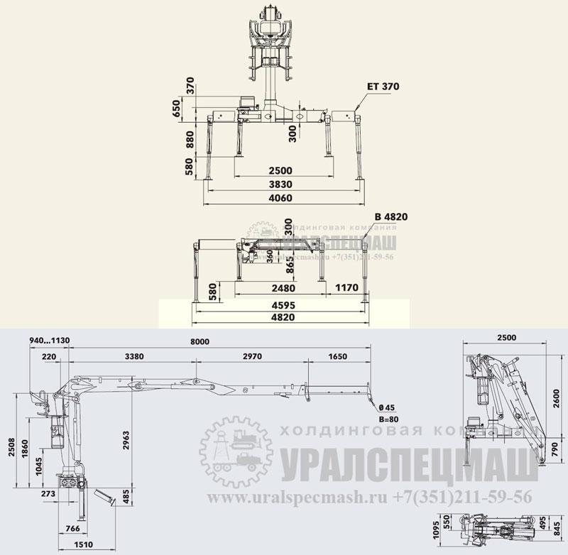 Габаритный чертеж манипулятора LOGLIFT-145-Z-80