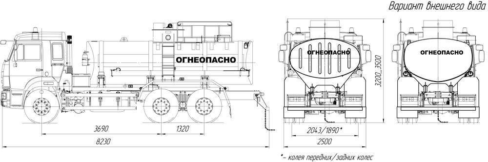 Габаритный чертеж АЦ-10 Камаз 65115-3082-48(A5)