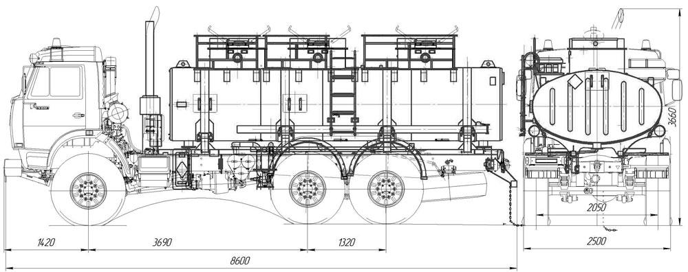 Габаритный чертеж автоцистерны АЦ-12 Камаз 43118-1918-10