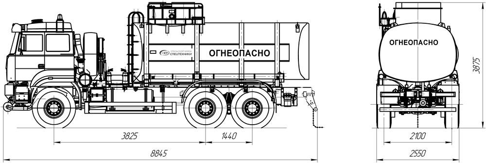 Габаритный чертеж АЦ-19 Урал 6370
