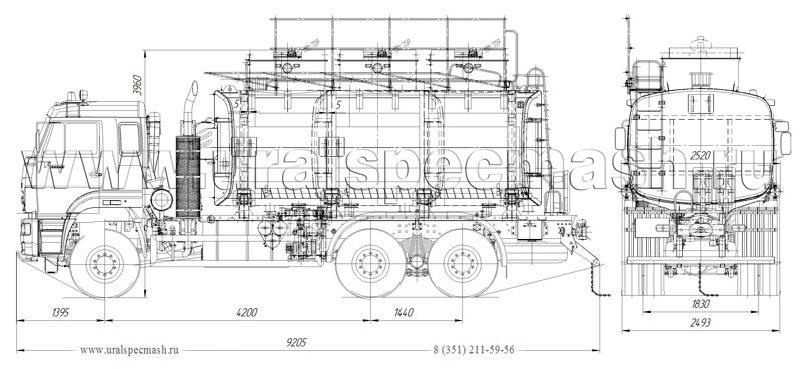 Габаритный чертеж нефтепромысловой автоцистерны АЦ-20 Камаз 65225-3971-43