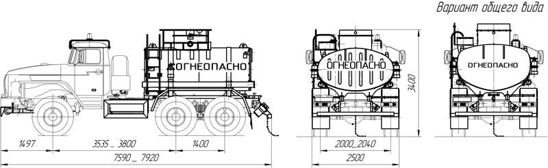 Габаритный чертеж автоцистерны АЦ-6,5 Урал 4320-1112-61Е5