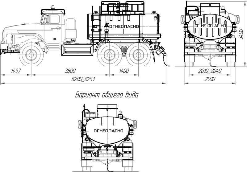 Габаритный чертеж автоцистерны АЦ-7,5 Урал 5557-1112-60Е5